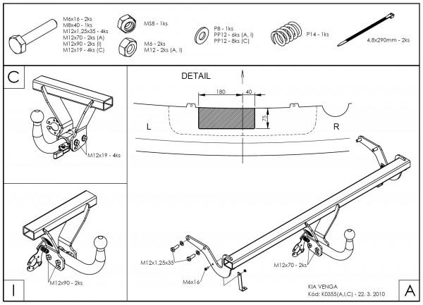 Hak holowniczy + moduł Kia Venga od 2010