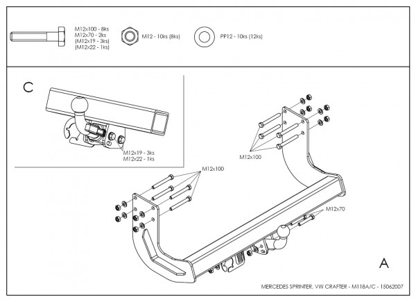 Hak wypinany + moduł Mercedes Sprinter 2006-2017