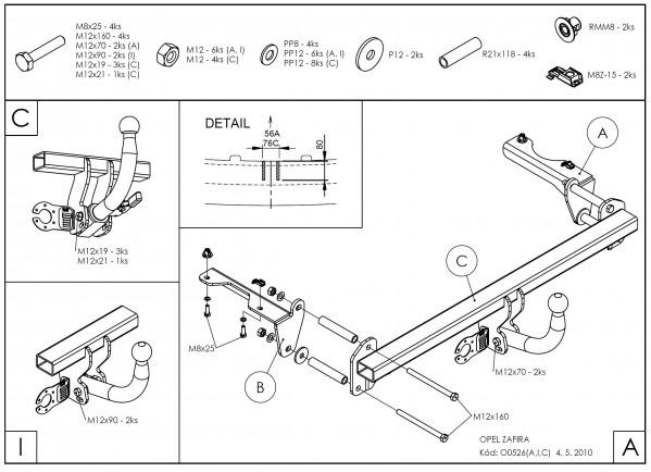 Hak holowniczy + moduł Opel Zafira 2005-2014