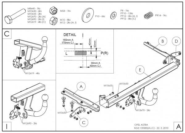 Hak holowniczy + moduł Opel Astra HTB 2009-2015