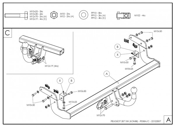 Hak holowniczy + moduł Peugeot 207 Kombi od 2007