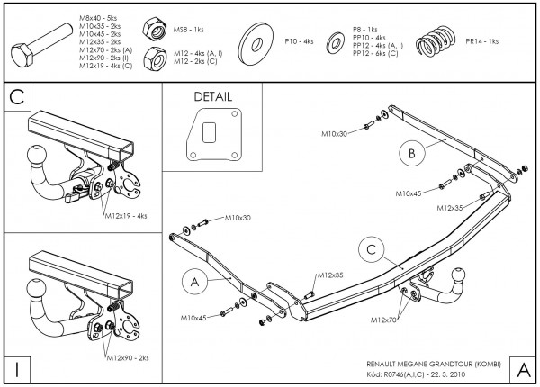 Hak holowniczy + moduł Renault Megane Kombi 2009-2015