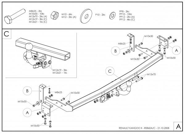 Hak wypinany + moduł Mercedes Citan od 2012