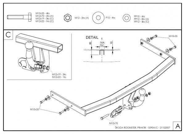 Hak wypinany + moduł Skoda Roomster od 2010
