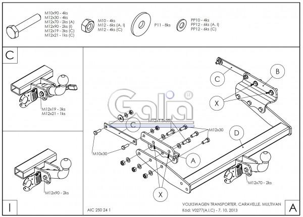 Hak holowniczy + wiązka VW Transporter T4 1990-2003