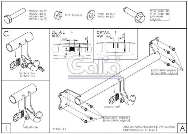 Hak wypinany + moduł Porsche Cayenne od 2002