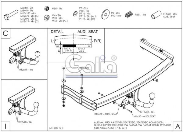 Hak wypinany + moduł Seat Exeo Kombi od 2008