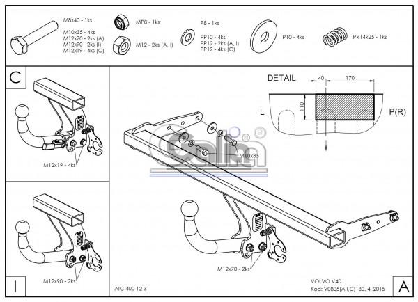 Hak holowniczy + moduł Volvo V40 2012-2019