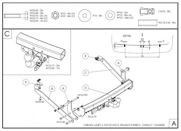 Hak wypinany + moduł Citroen Jumpy 2 od. 2006
