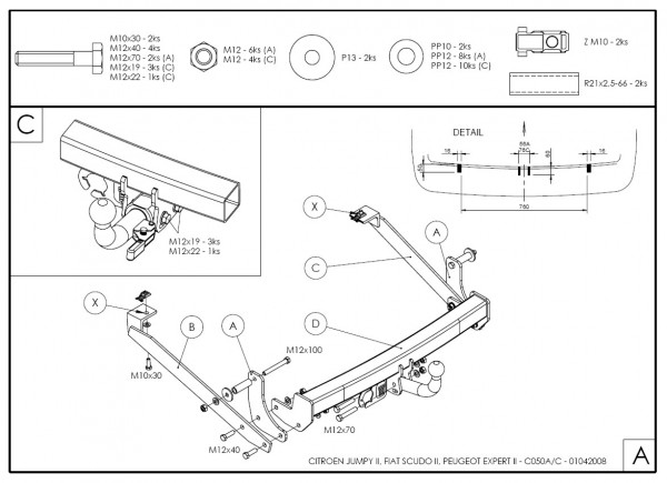 Hak holowniczy + moduł Peugeot Expert 2 od. 2006