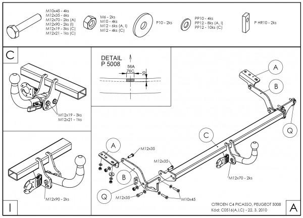 Hak wypinany + moduł Citroen C4 Picasso 2006-2013