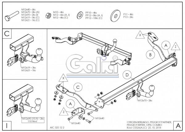 Hak holowniczy + moduł Opel Combo od 2018
