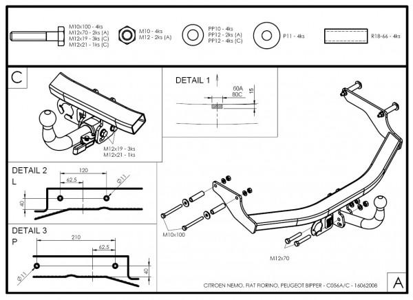 Hak wypinany + moduł Fiat Fiorino III od 2008