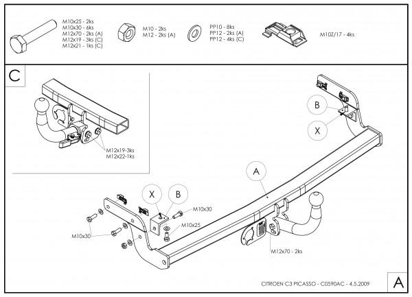 Hak holowniczy + moduł Citroen C3 Picasso od 2009