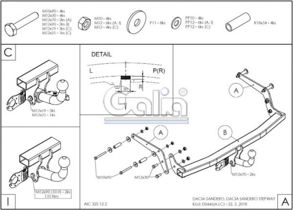 Hak holowniczy + moduł Dacia Sandero od 2013