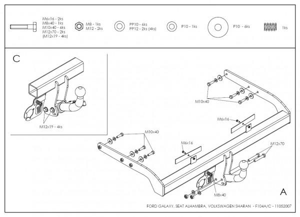 Hak wypinany + wiązka Seat Alhambra 2000-2010