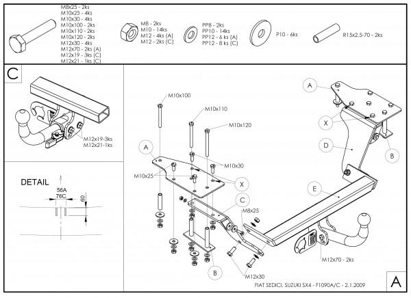 Hak holowniczy + wiązka Suzuki SX4 2006-2013