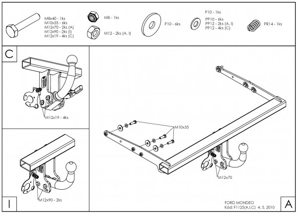 Hak wypinany + moduł Ford Mondeo 5dv 2007-2014