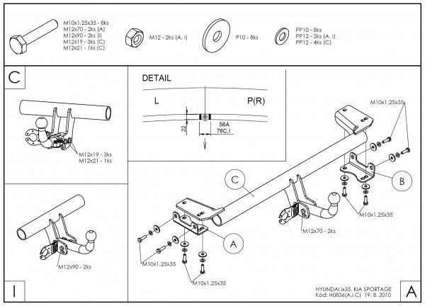 Hak wypinany + moduł Hyundai ix35 2010-2015